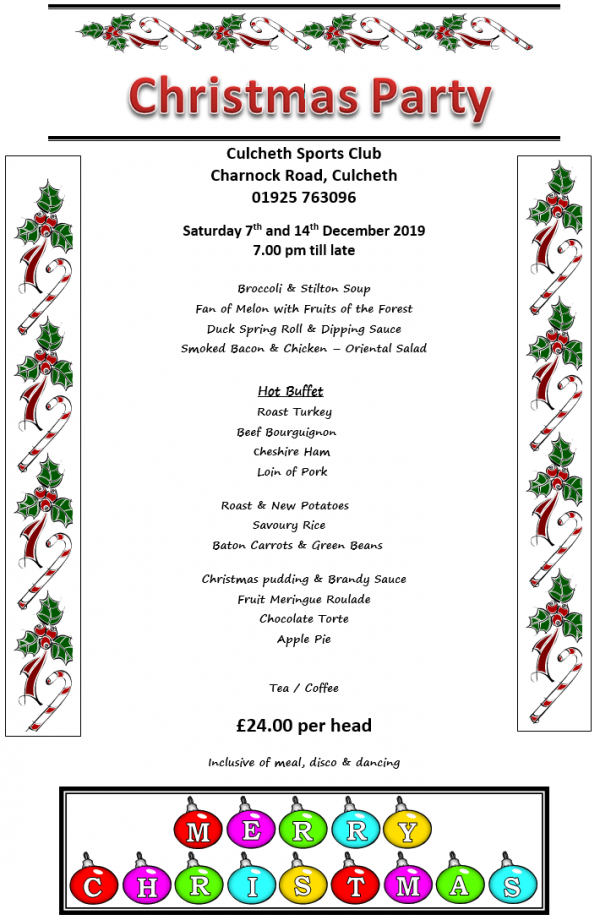 Christmas Party Night Menu